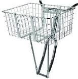 "Basket Front Steel Large 21"" X 14.75"" X 9"" Silver"