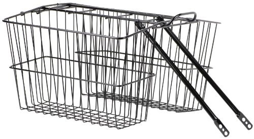 Basket Rear Steel large Black with integrated carrier Large double rear baskets