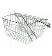 Basket Rear Steel large Silver with integrated carrier Large double rear baskets
