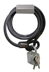 Coated steel cable with lock
