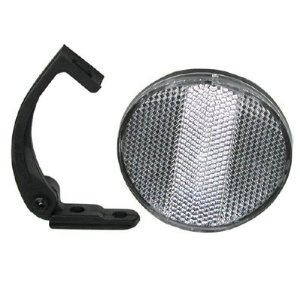 Reflector Front, Clear, round, comes with bracket that mounts to fork