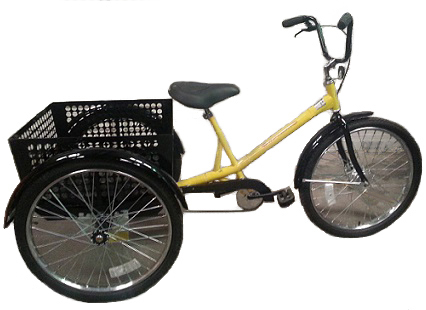 "Tricycle Worksman Mover (M2626) Industrial Tricycle with rear steel Basket (23""x23""x12"") - Coaster Brake"